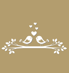 cute birds with hearts cutting from paper vector image vector image
