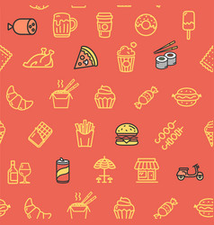 fastfood and street food pattern background vector image vector image