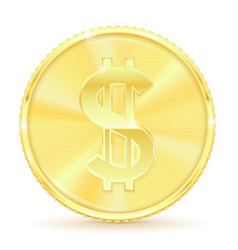golden coin with dollar symbol vector image