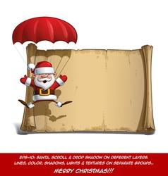 Happy Santa Scroll Parachute Open Hands vector image vector image