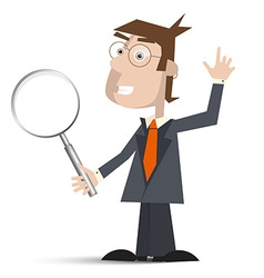 Man in Suit with Magnifying Glass Isolated on vector image