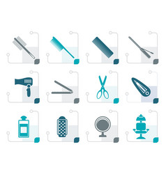 stylized hairdressing coiffure and make-up icons vector image vector image