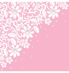 white guipure border with pearls on pink vector image