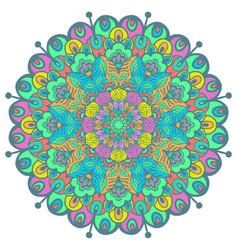 flower color mandala vector image vector image
