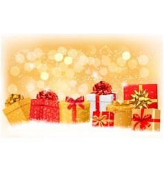 gift boxes with bow and ribbons vector image vector image
