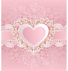 Greeting card with heart shape and flowers vector image