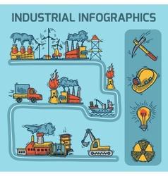 Industrial sketch infographic set vector