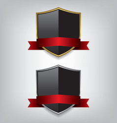 Shield gold and silver with red ribbon vector image vector image