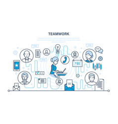 teamwork communication dialogues and discussions vector image vector image