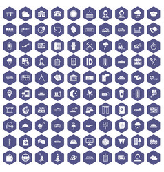 100 dispatcher icons hexagon purple vector