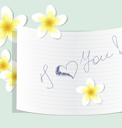 A note about love with plumeria vector image