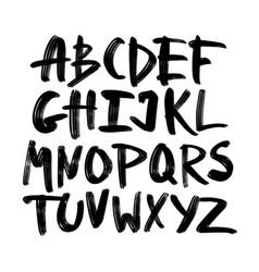 Alphabet lettersblack handwritten font drawn vector