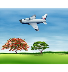 An airplane flying in the sky vector