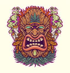 angry tiki leaf weed mascot with cannabis smoke vector image
