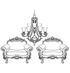 Baroque armchair and chandelier set with luxurious vector