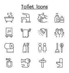 Bathroom icon set in thin line style vector
