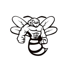 Bee mascot logo black and white version angry bee vector