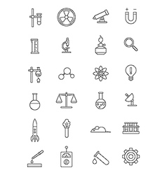 Black science icons set vector