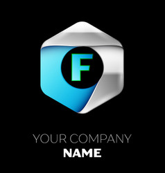 blue letter f logo in the silver-blue hexagonal vector image