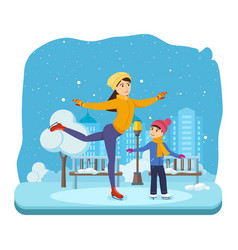 boy with in winter clothes ride on ice good mood vector image