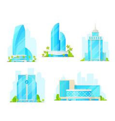 Business center isolated building icons vector