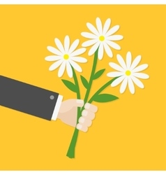 Businessman cartoon character hand holding bunch vector image