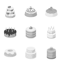 Cakes for the holidays a set of different sweets vector
