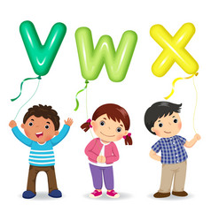 Cartoon kids holding letter vwx shaped balloons vector