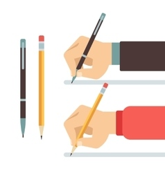 Cartoon writing hands with pen and pencil flat vector
