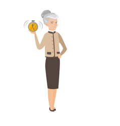 caucasian business woman holding alarm clock vector image