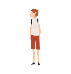 Cheerful guy in casual clothes standing with vector