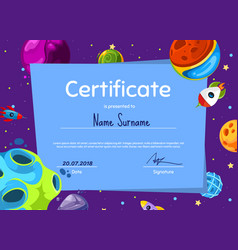children diploma or certificate with vector image