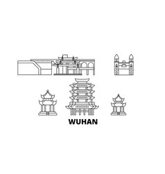 China wuhan line travel skyline set china wuhan vector