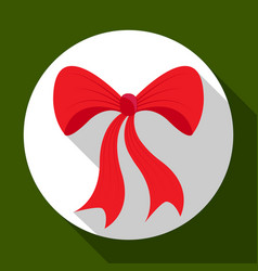 christmas red bow icon on green background with vector image