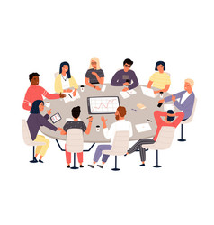 clerks or colleagues sitting at round table vector image