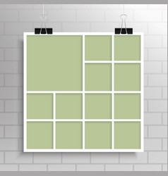 Collage thirteen frames photos parts or posters vector