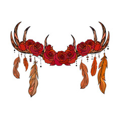 color native drawing deer antlers with feathers vector image