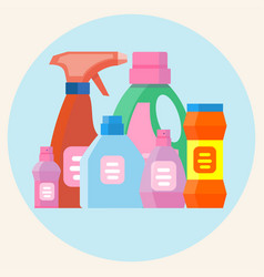 colored plastic bottles with detergent isolated on vector image