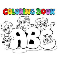 coloring book school abc letters vector image
