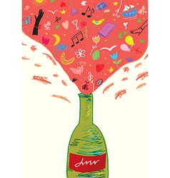 Concept wine bottle - fun and joy for girls vector