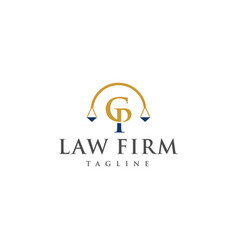 cp law logo design vector image