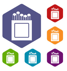 Crayons icons set hexagon vector