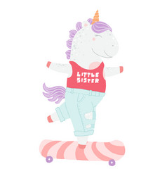 cute cartoon unicorn funny unicorn on skateboard vector image