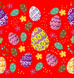 Cute easter eggs seamless pattern with colorful vector
