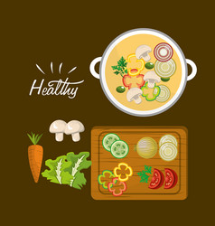Delicious fresh vegetable healthy and soup vector