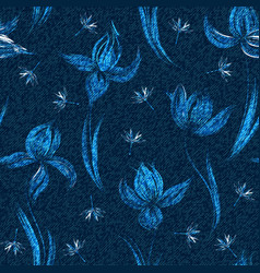 denim floral seamless pattern faded jeans vector image
