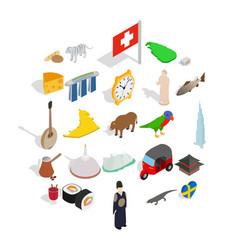 eastern europe icons set isometric style vector image