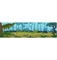 edge tropical jungle cartoon panorama vector image