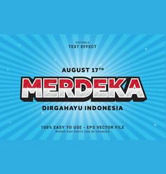 Editable text effect merdeka cartoon style vector
