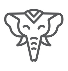 elephant line icon zoo and wildlife african vector image